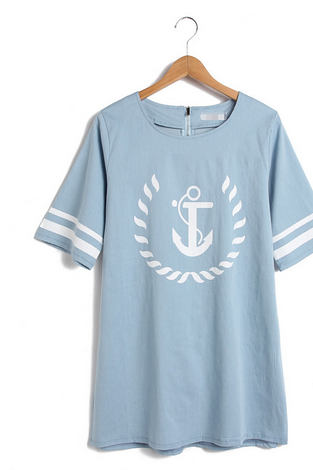 Printed boat anchor pattern denim short-sleeved dress