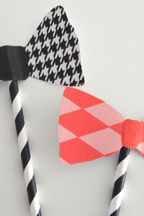 Stripey Bow Photo Prop (One Pair)