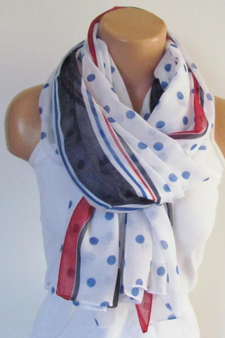Polka Dot Scarf-Beach Pareo-Infinity Scarf- Beach Sarong-Long Scarf-New Season-Oversize White Navy Blue Red Scarf