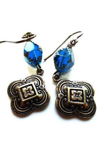 Victorian Royal blue and gold earrings. Czech glass, metal jewelry