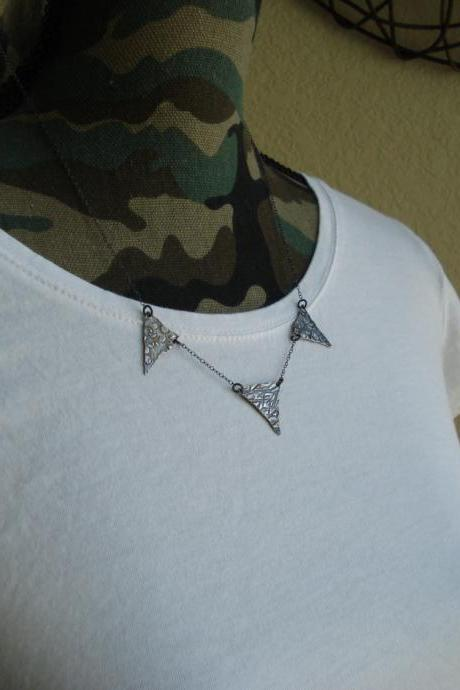Triangle necklace, geometric necklace, modern jewelry, silver necklace