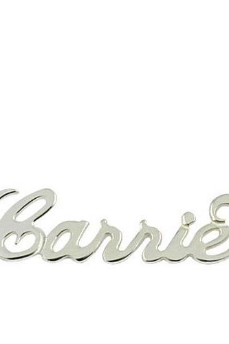 "Standard Size ""Carrie"" Sterling Silver Style Name Necklace"