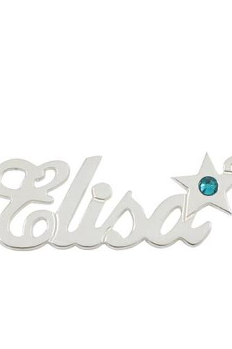 Sterling Silver Name Necklace With Star Birthstone