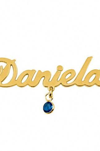 18K Gold Plated Sterling Silver Name Necklace with Birthstone Swarovski