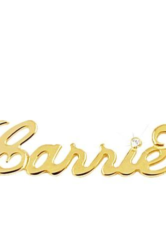 "14K Gold ""Carrie"" Name Necklace With Swarovski Crystal"