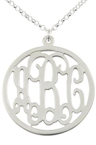 Circular Sterling Silver Monogram Necklace