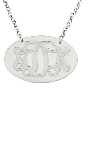 Oval Silver Monogram Necklace