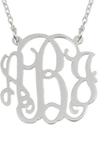 Sterling Silver Monogram Necklace 2 Loops