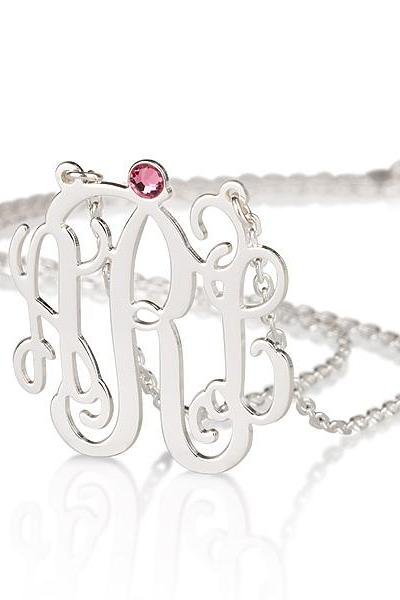 Silver Monogram Necklace with Birthstone and 2 Loops