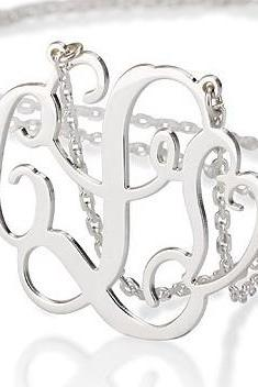 Silver Two Initial and Heart Monogram Necklace