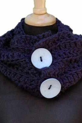 Dark Navy Blue Crochet Cowl with Buttons