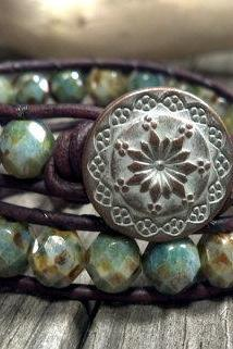 Opaque Green Beaded Double Leather Wrap Bracelet, Shabby Chic, Bohemian, Southwest Chic Jewelry