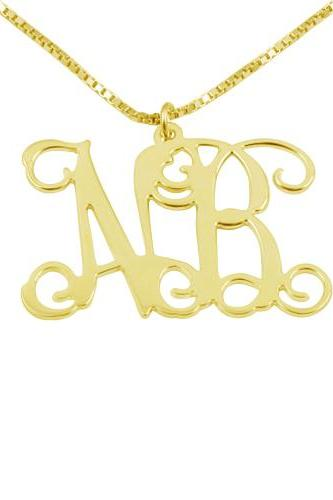 Gold Plated Sterling Silver Monogram Necklace
