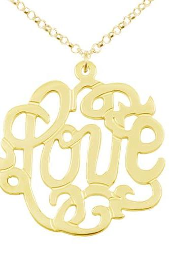 Love Gold Over Silver Monogram Necklace