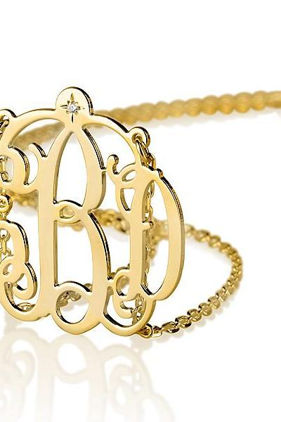 Gold Over Silver Monogram Necklace with Diamond and 2 Loops
