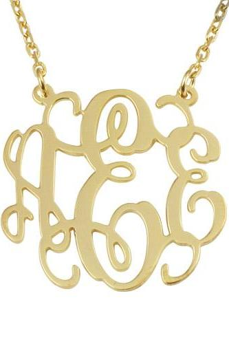 Gold Over Silver Monogram Necklace 2 Loops