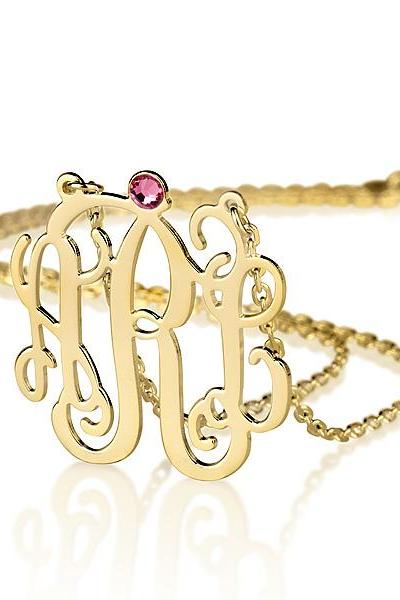 Gold Over Silver Monogram Necklace and Birthstone 2 Loops