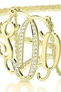 Gold Plated Swarovski Center Silver Monogram Necklace