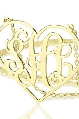 Heart Framed Gold Plated Silver Monogram Necklace