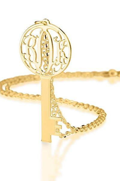 Silver Circle Monogram Key Gold Plated Necklace