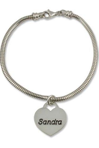 Sterling Silver Engraved Heart Name Bracelet