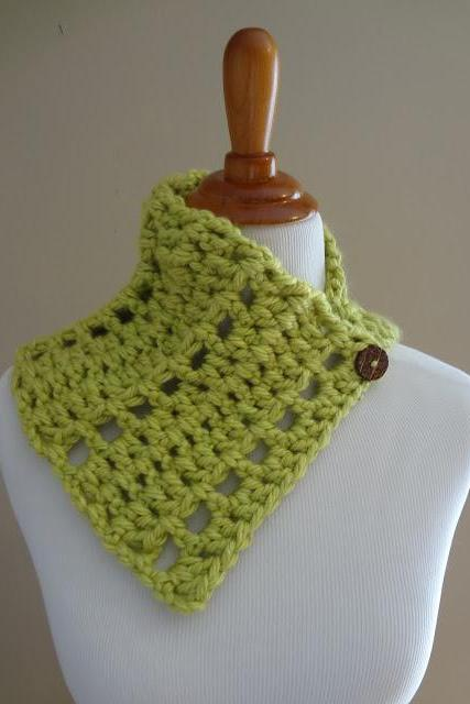 Lime Green Handmade Crochet Cowl with Buttons-Scarf-Accessory