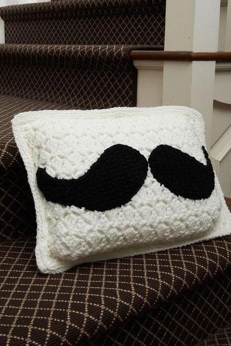 Handmade Crochet Mustache Pillow-Home Decor