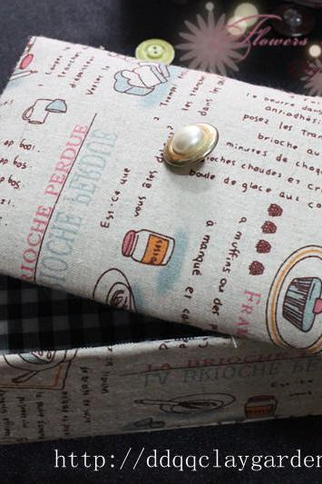 French Breakfast Fabric with Pearl on top~