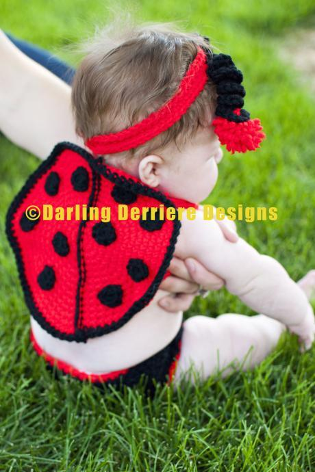 Baby Lady Bug Wings, Headband, and Diaper Cover Crochet Pattern