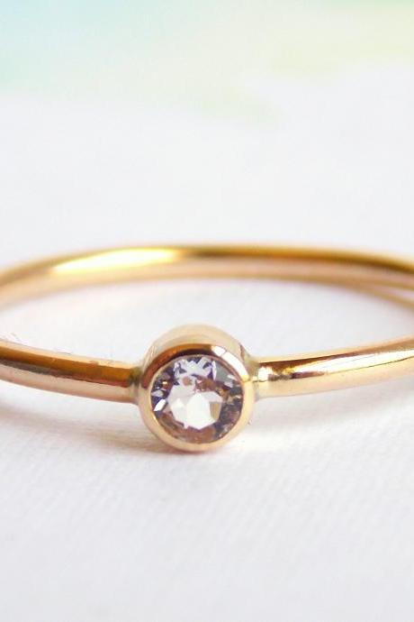 Simple White Topaz Ring: 14K Gold-filled ring, white topaz, dainty ring, simple ring, gold ring