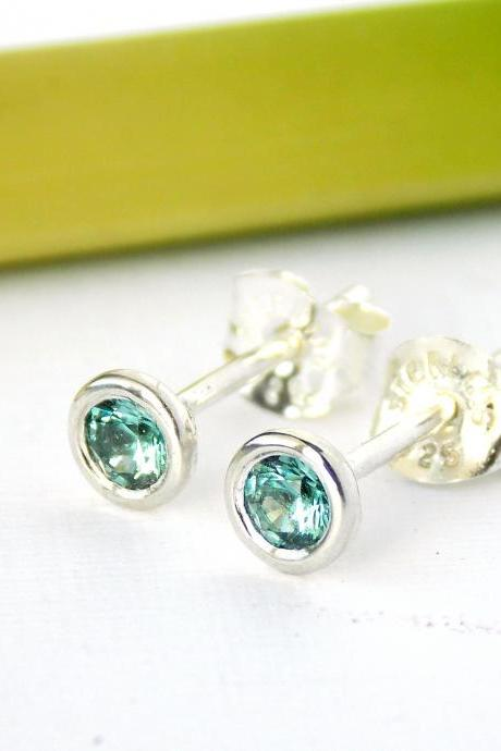Birthstone Stud Earrings--Pick your stone, White Topaz Earrings, Sterling Silver Earrings, SImple Earrings, Stud Earrings
