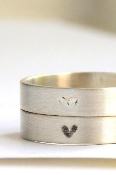 Engraved Heart Ring-- Choose your finish, sterling silver ring