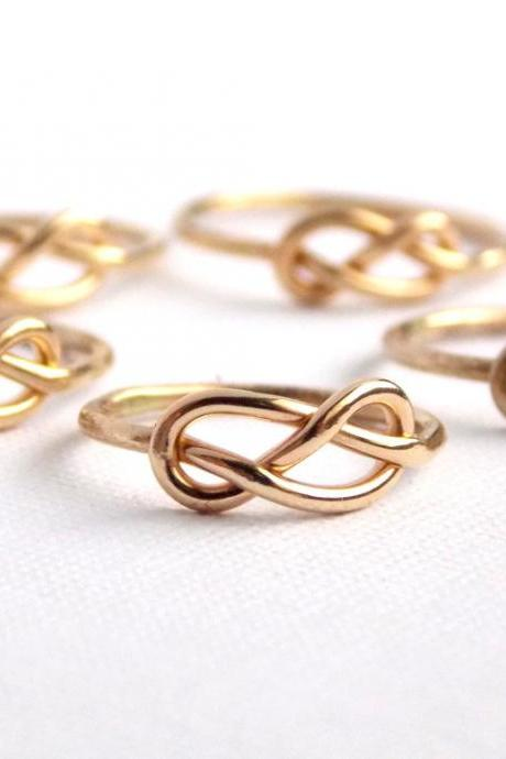SET OF 5 Infinity Knot Ring-- 14K gold filled ring, Bridesmaid gift, infinity friendship rings