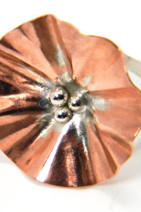 Copper Flower Ring- Sterling Silver Ring