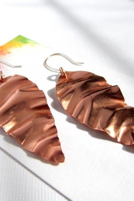 Abstract Leaf Earrings-- Copper leaf Earrings, Modern Earrings, leaf earrings, copper earrings