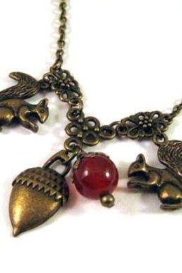 Squirrel and acorn necklace jewelry with carnelian stone
