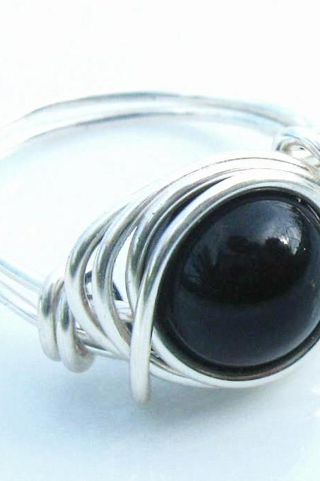 Black Agate Ring in Black and Silver