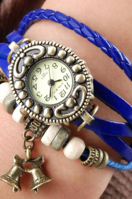 Handmade Vintage Quartz Weave Around Leather Bracelet Lady Woman Girl Wrist Watch With Bell Charm Blue