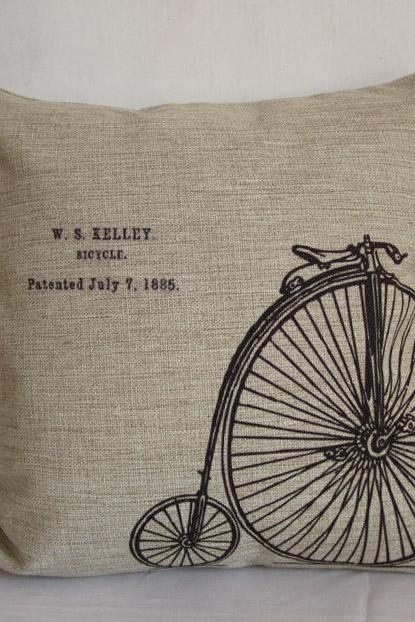 1 Linen Pillow cover Vintage retro bicyle/bike design throw pillow cushion cover/home decor/housewares 18'