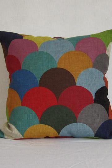 1 Piece of Colorful Splice Geometry Decorative Linen Pillow Cushion Cover 18'