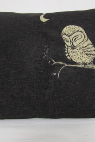 1 Piece of Black Owl Pillow Cushion Cover Decorative Linen Pillowcase 18'