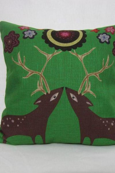 Decorative Linen Pillow Cushion Cover Green Deer Flower Pillowcase Gift 18'