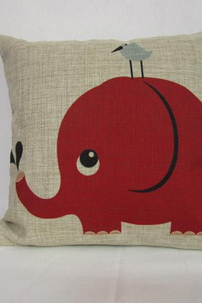Linen pillow cover decorative pillow cover Animal cushion cover Elephant Pillow home decor Pillow 18""