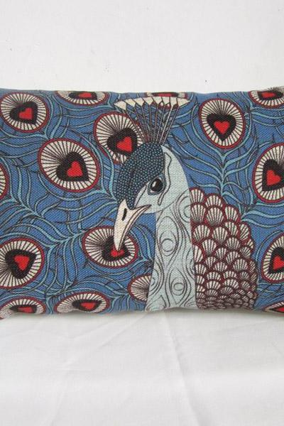 Peacock Linen Pillow Cover Decorative Peacock Cushion Cover Animal Vivid Pillow