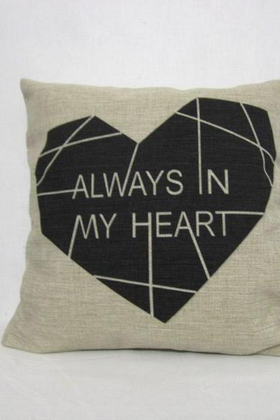 Decorative Linen Pillow Cushion Cover Heart Black Pillowcase Housewares 18'