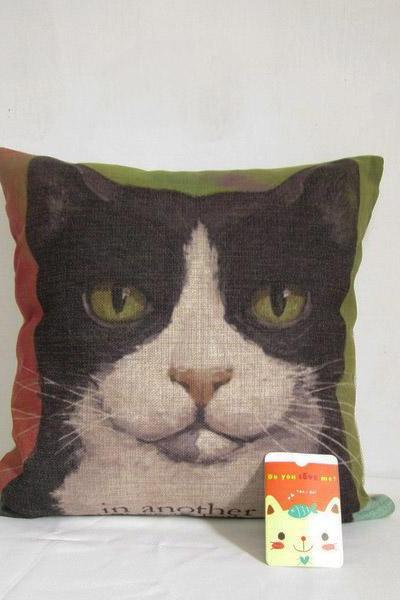Decorative Linen Pillow Cover Cat Cushion Pillowcase Animal Cushion 18'