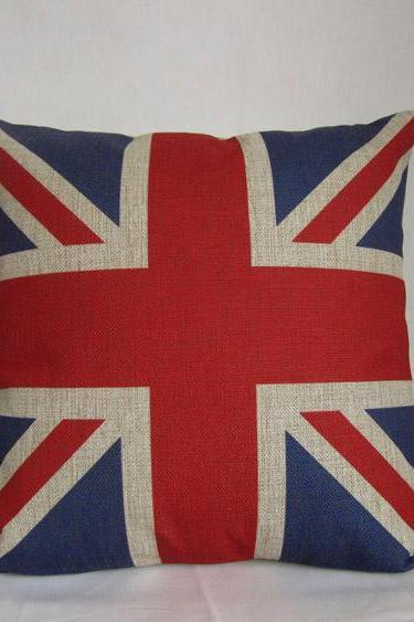 1 ON SALE Sherlock Cushion Linen cotton Vintage retro Union Jack England flag throw pillow cushion cover/home decor/housewares Flag Pillow 18""