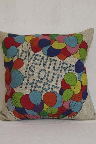 1 Decorative Linen Pillow Cushion Cover Colorful Balloon Wording Pillowcase 18'