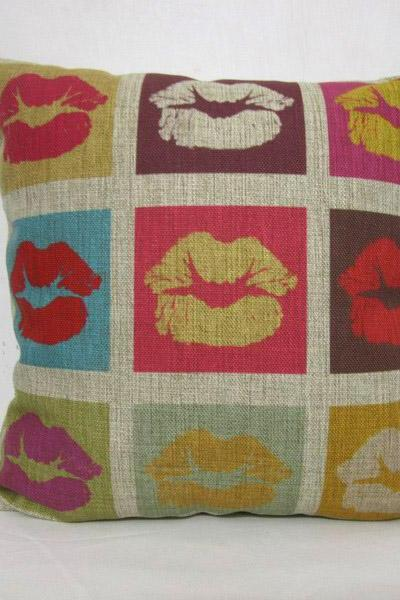 Decorative Linen cotton Vintage retro mouth lips design throw pillow cushion cover/home decor/housewares