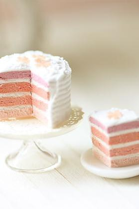 Miniature Food - Dollhouse Pink Rainbow Cake